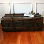 Huge Antique Steamer Trunk Coffee Table Flat Top