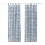 Ikea Mjolkort Curtains Drapes Blue White Floral Tab