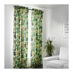 Ikea Syssan Curtains Pair White Green Panels