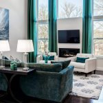 Interiors Gray Contemporary Living Room Turquoise