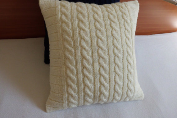 Ivory Cable Knit Pillow Cover Throw Off White Hand