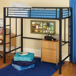 Kids Loft Bed Metal Black Teens Bunk Twin Bedroom Furniture Study Area
