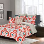 King Queen Comforter Piece Bedding Set Blue Orange Printed Damask