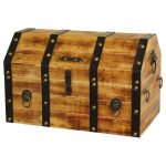 Large Wooden Pirate Trunk Lion Rings Storage Treasure Chest Decorative New