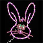 Led Pink Bunny Face Ornamental Small Lighted Shapes Outdoor