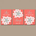 Live Laugh Love Coral Wall Art Nursery Decor