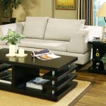 Living Room Multi Shelves Black Table Set Occasional