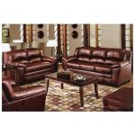 Megan Simmons Bonded Leather Upholstery Wine Colored Sofa Love Seat Set Wood