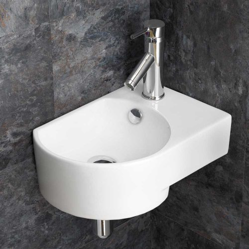Moda Wall Mounted Right Corner White Space Saving Wash Basin Sink