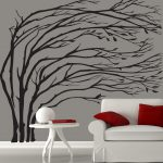 Modern Black Blowing Tree Wall Decal Silhouette