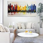Modern City Canvas Abstract Painting Print Living Room Art Wall Decor Frame
