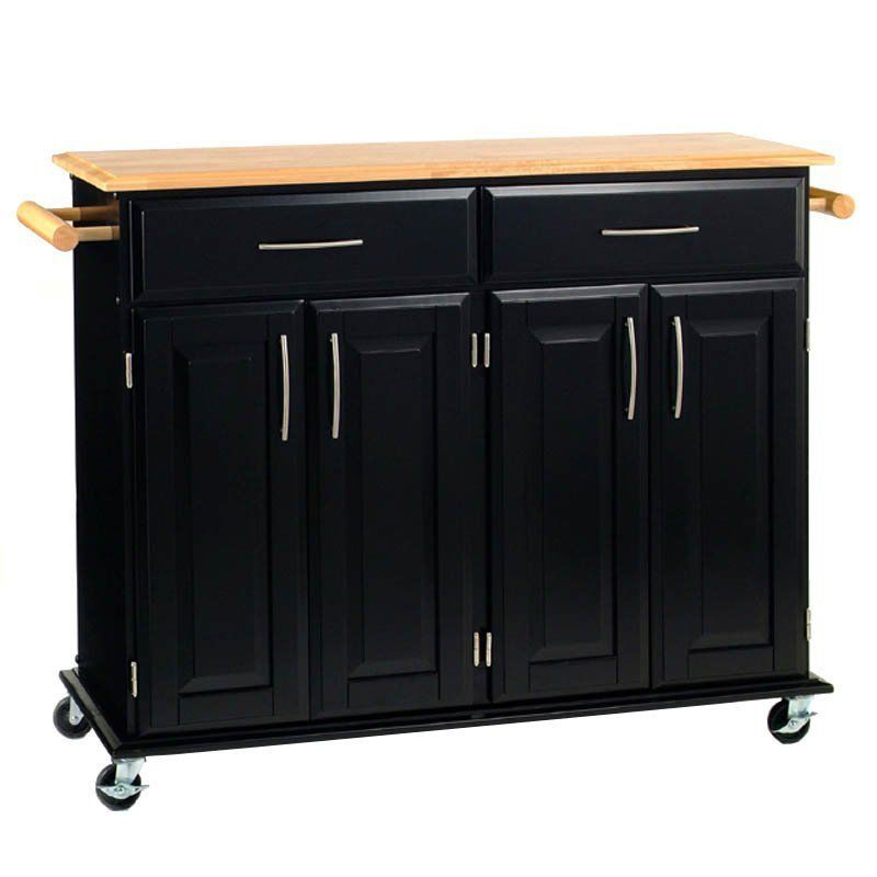 Modern Kitchen Island Storage Cart Dining Portable Wheels Bar Mobile Black Wood