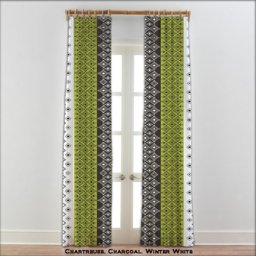 Moroccan Curtains Charcoal Green White Other