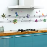 Music Notes Hummingbirds Flowers Pvc Wall Stickers Living Room Bedroom Kitchen Home