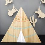 Natural Wood Teepee Bookends Decor Painted