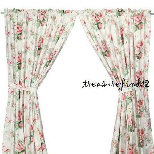 New Ikea Emmie Pair Curtains Lined Panels Roses Stunning Floral Tie Backs