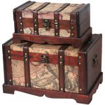 Old World Map Wooden Trunk Set Rustic Decorative Trunks