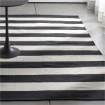 Olin Black Striped Cotton Dhurrie Rug Crate