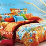 Orange Blue Bedding Comforter New Red Floral Decorate