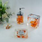 Orange Floral Acrylic Bath Accessory Sets Wholesale Faucet