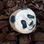 Panda Bears Hand Painted Rocks Animal Totem Stone Altar