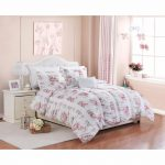 Piece Floral Print Rose Ruffle Ruching Vintage Bedding Comforter Set Questroom
