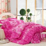 Pink Floral Bright Retro Modern Bed Bag