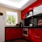Red Kitchen Cabinets White Ceiling Interior