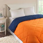 Reversible Orange Navy Quilted Microfiber Down Alternative Comforter Shipping