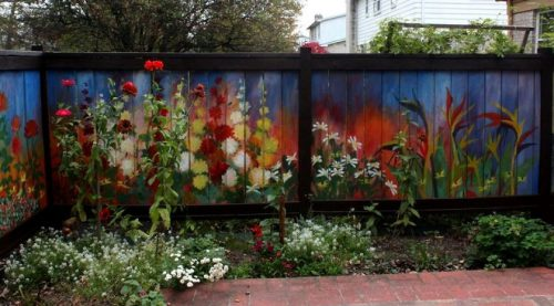 Revived Our Old Garden Fence Painting Vivid Flowers Amazing Architecture