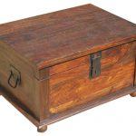Rustic Primitive Solid Wood Storage Trunk Coffee Table Traditional Decorative