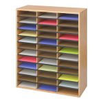 Safco Wood Corrugated Literature Organizer Office Shelf Medium Oak Atg