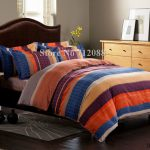 Shipping Blue Orange Purple Stripe Bed Sheets Linens Pcs Queen King Comforter Bedding