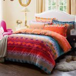 Shipping Cotton Bed Linens Sanding Pcs Orange Blue Geometric Pattern Queen King