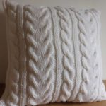Soft White Chunky Cable Knit Pillow Cover Throw