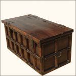 Solid Wood Iron Rustic Coffee Table Storage Trunk Traditional Decorative Trunks