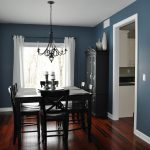 Spacious Dining Room Dark Blue Wall Painting