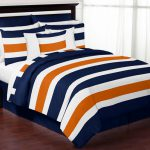 Stripe Navy Blue Orange Queen Bedding
