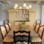 Traditional Dining Room Yellow Black Large Hutch