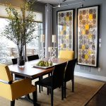 Trendy Colour Duo Dining Rooms Serve Gray Yellow Decor