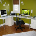 Very Small Office Room Decor White Mixed Black Wall Panel Combined