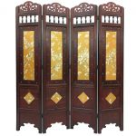 Vintage Gold Leaves Room Divider Screen Panel Wooden