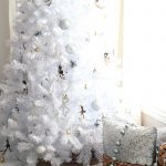 White Christmas Tree Rustic Glam Style Setting