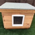 Wooden Cat Kennel Shelter Box House Flap Outdoor