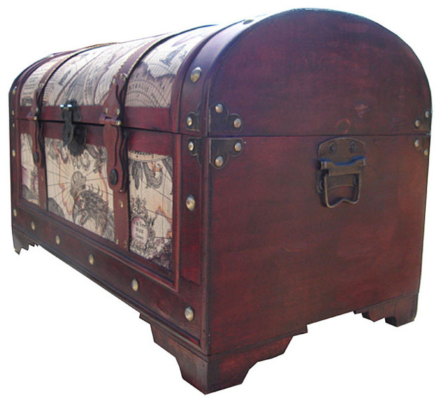 World Map Decorative Wooden Storage Trunk Traditional Trunks